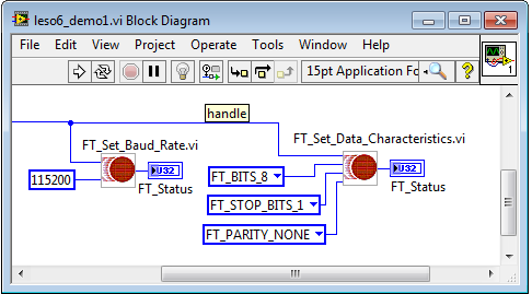 FTDI Set Baud Rate and Data Characteristics